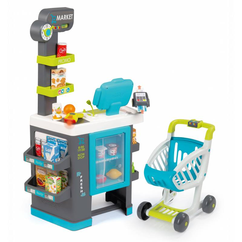 55cc872dfb88cb ... Smoby Supermarket Elektroniczna Kasa światło dźwięk 41 akcesoriów Wózek  ...