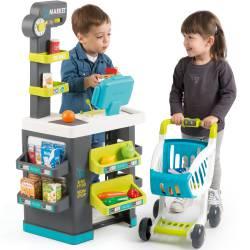 Smoby Supermarket Elektroniczna Kasa światło dźwięk 41 akcesoriów Wózek