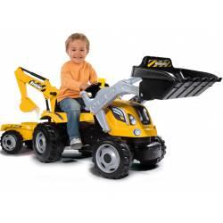 Smoby Duży Traktor MAX Na Pedała z Przyczepą Łyżka Koparka Dla Dzieci