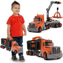 Smoby Black+Decker Ciężarówka z Dźwigiem 3w1 Dla Dzieci Narzędzia